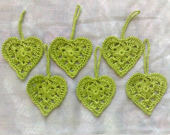 Valentine's Day gift crochet hearts of light green cotton, 6 pieces to decorate your gifts