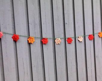 Star garland, crocheted stars, Christmas garland, small stars banner, star amp, pennant, party decoration, nursery décor