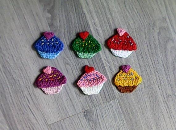 6 Pieces Muffin, Cupcakes Set, Crochet, Crochet Applique, Applique, Patch, Accessories, Crochet Application