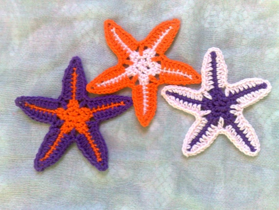 Crochet decoration starfish Applications for wedding on the beach