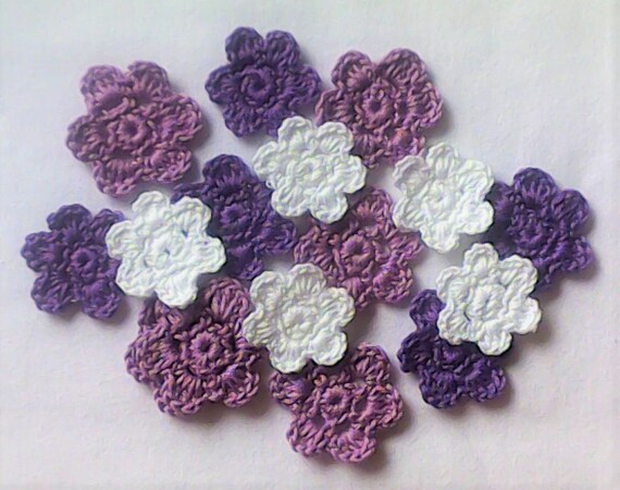 Crochet Floral Appliqués, 15 small white, purple and light purple Crochet Flowers