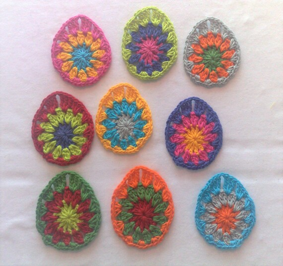 Crochet Easter egg 9 piece decorative motif Easter spring décor holiday embellishments