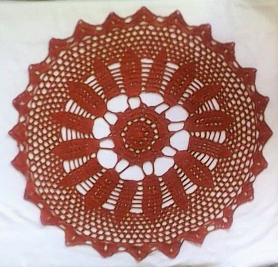 "Amber-Brown Crochet cover 18 ""handmade crochet cover in a beautiful design"