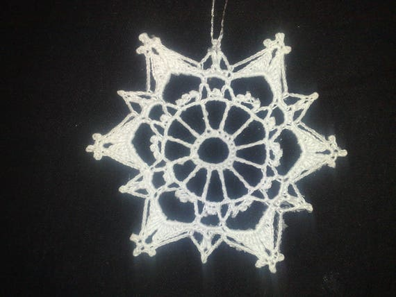 Snowflake in white for tree hanging crochet, size 5.5 ""