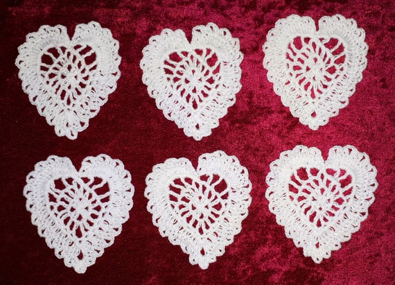 Crocheted lace heart application, embellishment 6 pieces in set