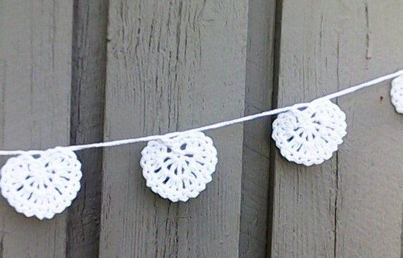 Love Heart garland white hearts crocheted Wedding Decoration Valentine's Day Gift