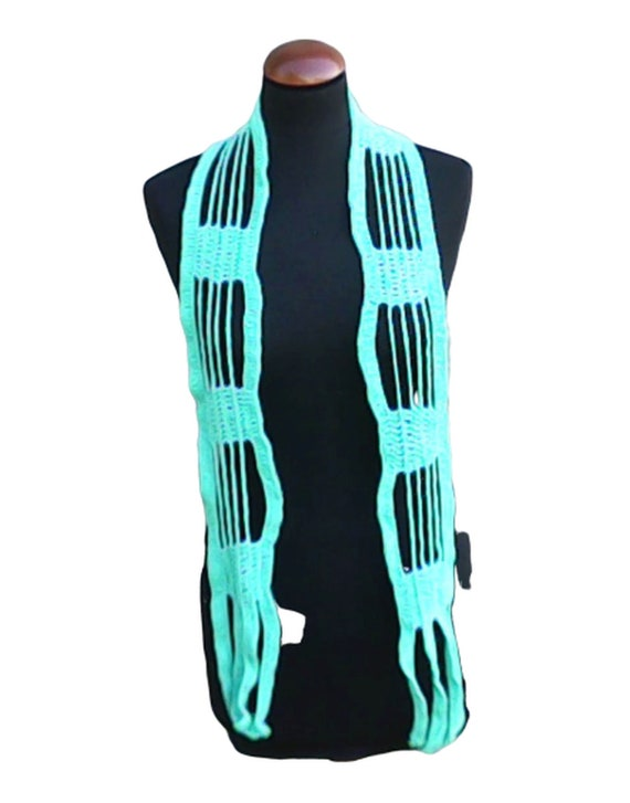 """Crochet scarf light blue, long scarf 71"""", scarf for women turquoise scarf spring crochet scarf lace scarf light unique scarf"""