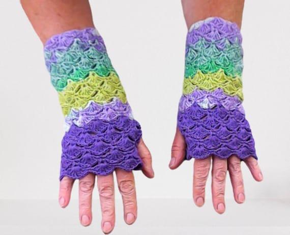 Shell pattern crochet fingerless gloves, women winter autumn accessories, crochet women gloves, gift for her, birthday