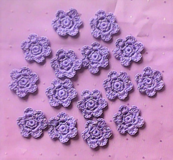 15 Crochet Flowers in light purple, crocheted Floral Applications for Embellishment and Scrapbooking