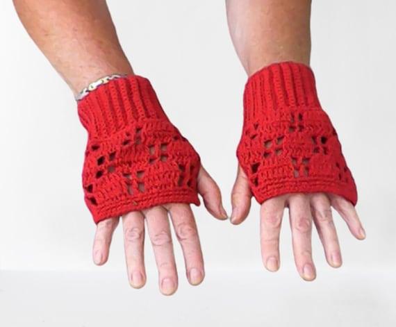 Women's Fingerless Gloves Dark Red, Women Texting Gloves, Women Driving Gloves, Women Fingerless Gloves