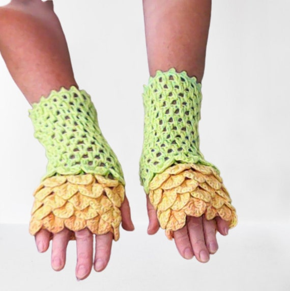 Dragon Gloves Dragon Scale Gloves Fingerless Gloves Green Yellow Cute Arm Warmer Dragon Gloves Mermaid