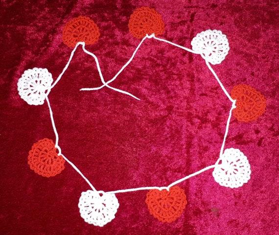 Wand Dekor Wohnzimmer Dekor Häkeln Girlande Rot Weiße Herzen Hochzeitsgirlande Häkeln Herz Girlande Häkeln Wohnkultur Ferien Girlande