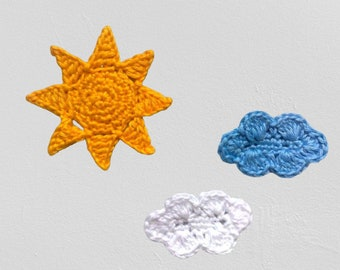 Sun and Clouds Application, Yellow Sun Patches and White and Blue Cloud Applique for Decorations