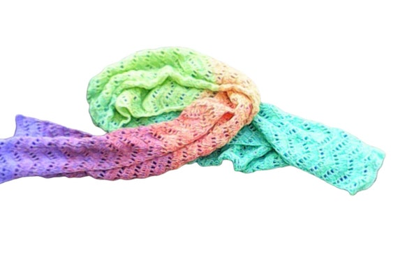 "Very long 70"" and wide 12"" colorful crochet scarf gradient yarn beautiful pattern long and wide scarf"