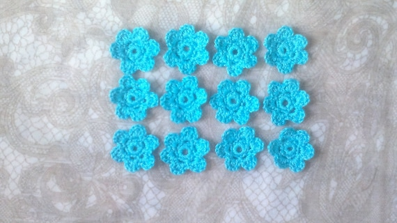 Crocheted Flowers, 12 pieces of crochet flowers in light blue