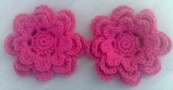 Crochet flower Set of 2 applications 3 inch embellishment sewing in pink