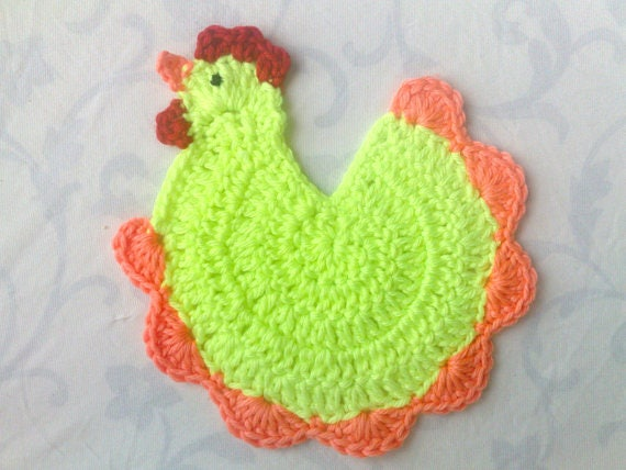 Crochet chicken faucet decoration neon green faucet kitchen decor rustic kitchen décor light green chicken undertakers Inauguration Party Gift