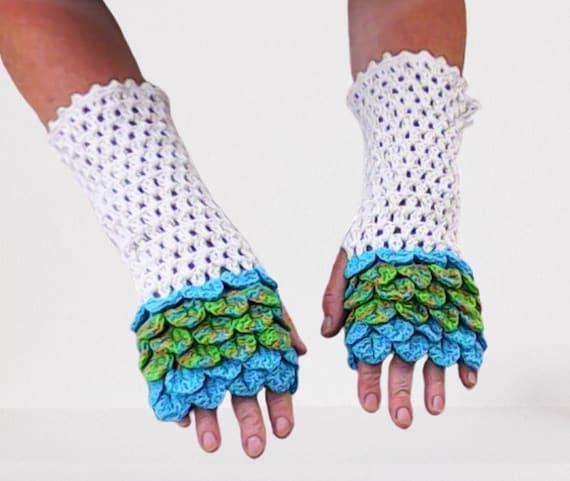 Dragon Scale Fingerless Gloves Arm warmer natural white turquoise green beige women gift crochet fashionable garment accessories