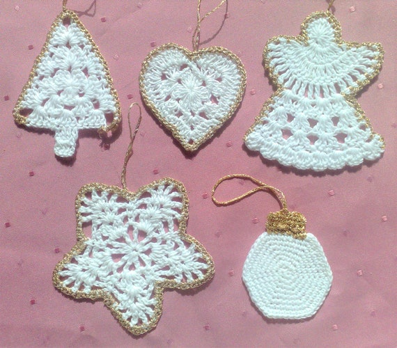 Crocheted Ornaments set of 5 Christmas crochet ornaments White Christmas Сrochet décor for house crochet for Christmas hanging ornaments