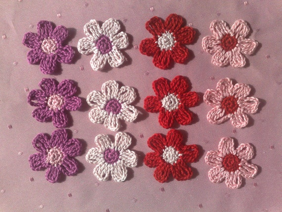 Colorful crochet flowers, crochet application, Patch, Application, Floret, Daisy, crochet pattern
