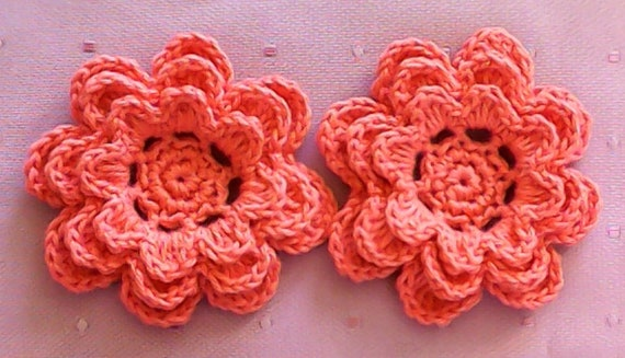 Crochet Flowers Set of 2 Applications 3-Inch embellishment in apricot