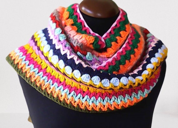Warm colorful long scarf, colorful pattern in soft wool acrylic