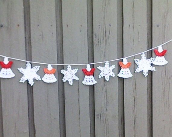 Angel garland, crochet white Christmas garland with 5 angels and 4 snowflakes for tree hanging and Christmas decoration