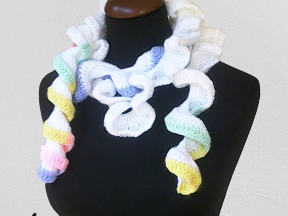 Pastel Ruffle Scarf Crochet Lariat Festival Summer Infinite Freeform Extra Long Skinny Thick Soft Wool Wash Length 73""