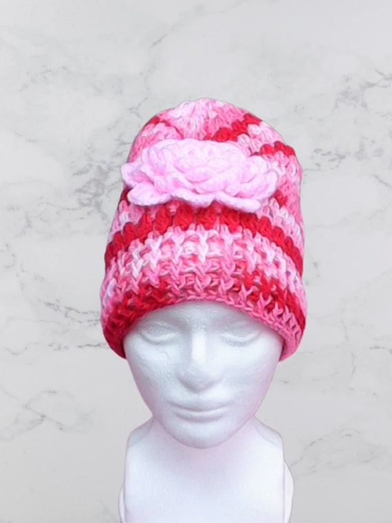 Red Pink White Crochet Slouchy Hat with Flower Crochet Cap Red Knitting Hat Pink Slouchy Beret Crochet Women Hat Slouch Hat White Slouch Cap