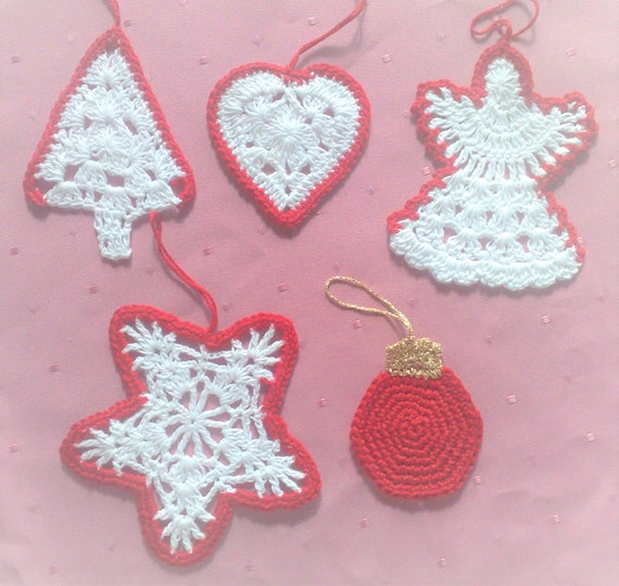 Crochet Christmas Ornaments Christmas tree decorations, set of 5 rustic farmhouse decorations