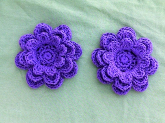 Crochet flowers purple 3-inch embellishment cotton