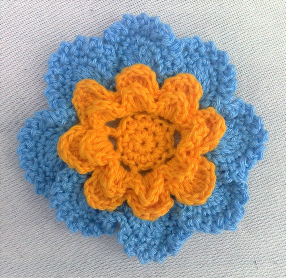 Appliques hand crocheted flower blue and yellow cotton 3.5 inches