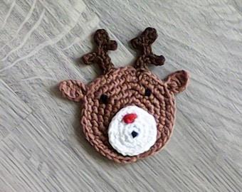 Crochet reindeer appliques, Christmas motifs, applique, crochet animals, reindeer Rudolph, animal motifs, deer applique