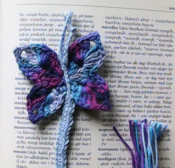 Bookmark butterfly crocheted teacher gift, book lover gift, crochet bookmark gradient yarn light blue turquoise and purple
