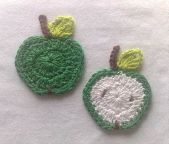 Apple crochet application crocheted in green