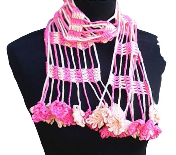 Pink crochet scarf with fringes, Lacy summer scarf with floral edge, gift for her, scarf, BoHo style fringe scarf length 53""
