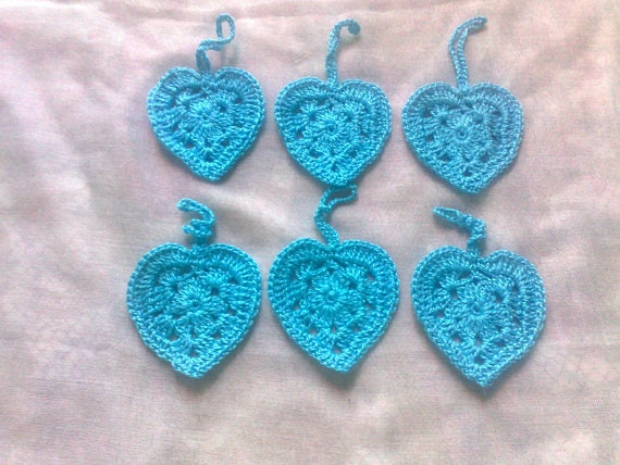 Valentine's Day gift pendant 6 pieces light blue crochet hearts