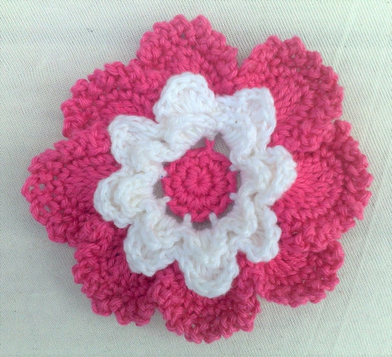 Baby Dark pink crochet flower applications crochet flower