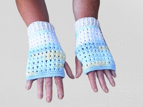 Crochet fingerless gloves in blue and white, accessory in beautiful pastel colors