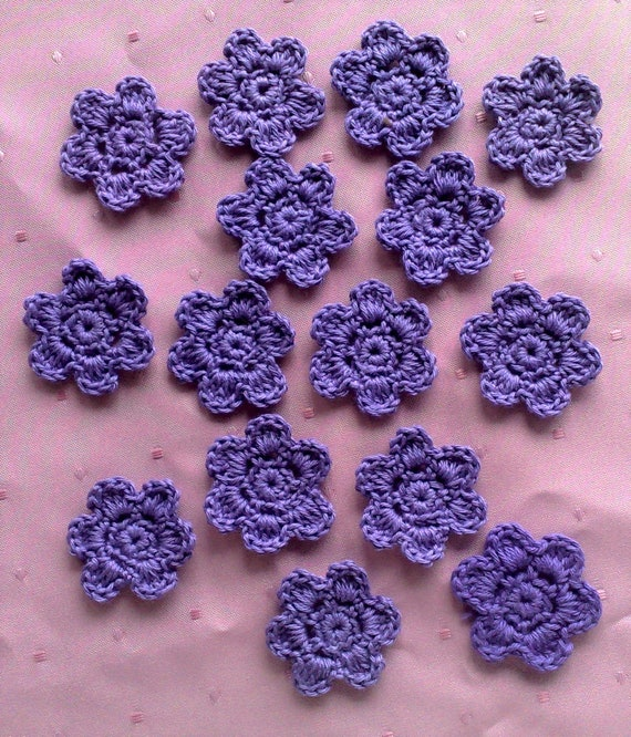 15 Small crochet flowers patch in purple for scrapbooking and decorating clothes or bags