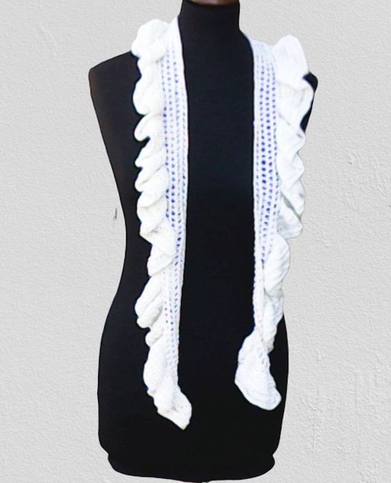 """White scarf crocheted with ruffles, summer accessory, fashion for spring 60"""""""