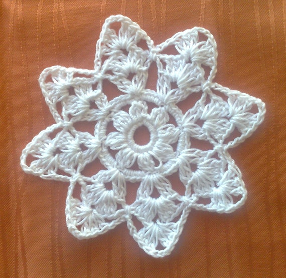 Christmas tree ornament crochet snowflake 4.5""