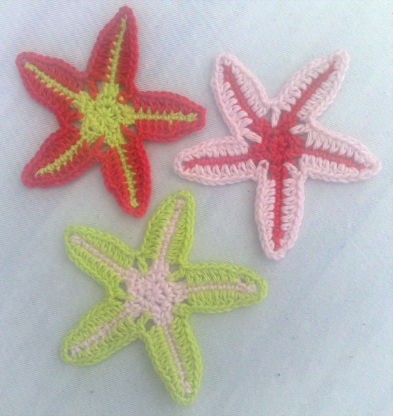 Creatures in the ocean crochet for ornaments on children's clothing, 3 pieces