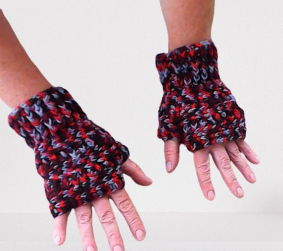 Fingerless gloves women red brown grey arm warmers colorful crochet gloves forest winter pulse warmer crochet gloves Outlander gift