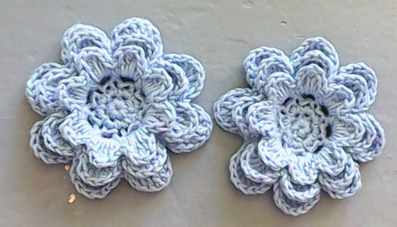 Crochet flowers 3-inch blue set 2 pieces in flower motif