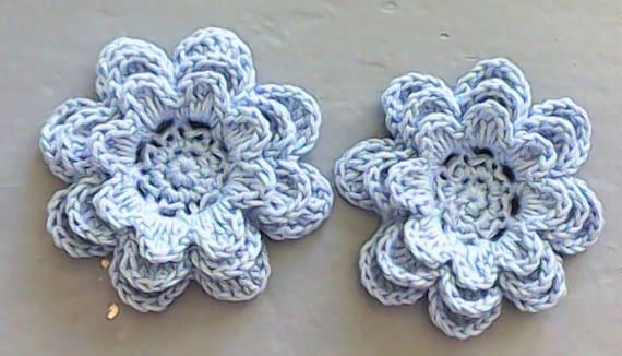 Crochet Flowers 3-inch blue set 2 pieces in floral motif