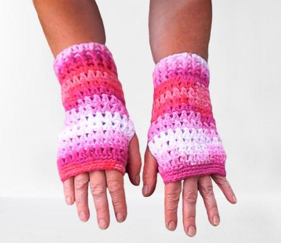 Fingerless gloves, crocheted fingerless arm warmers pink white gradient