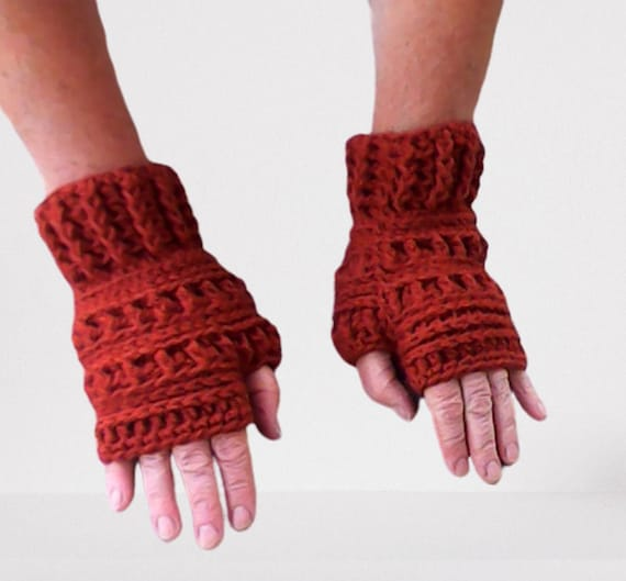 Fingerless Gloves Women Brown Arm Warmers Warm Short Crochet Gloves Forest Winter Pulse Warmer Crochet Gloves Outlander Gift