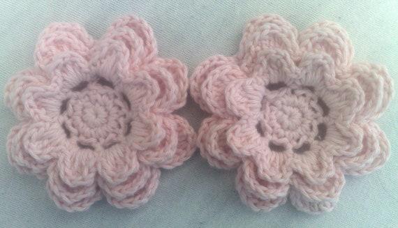 Crochet Flower 3-inch cotton set of 2 flower embellishment flower motif color light pink