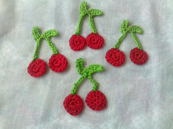 4 Red Cherries Patch False Food and Crochet Toy 1 Pair of Cherries, Crochet Applique, Handmade Crochet Patch